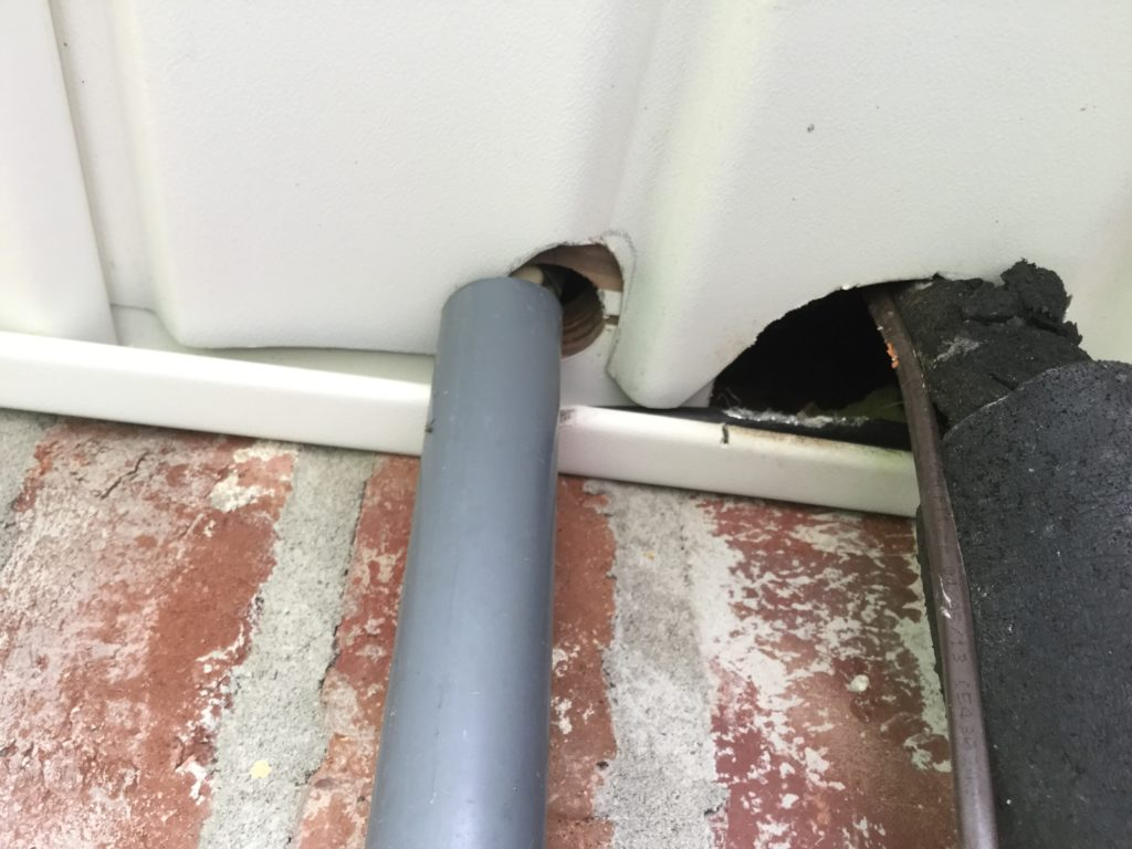 Common entry point for a mouse getting into an attic by the A/C line